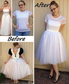55 Intelligent & Fun Ways To Refashion Prom, Wedding & Formal Dresses - Paris Ciel (EN) Refashion Dress, Diy Dress, Upcycled Prom Dress, Dress Lace, Dress Ideas, Party Dress, White Dress, Diy Wedding Dress, White Wedding Dresses