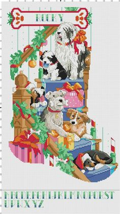 Puppy Christmas Stocking- nice idea for a felt dog stocking Cross Stitch Alphabet, Cross Stitch Animals, Cross Stitch Kits, Counted Cross Stitch Patterns, Cross Stitch Designs, Cross Stitch Embroidery, Cross Stitch Christmas Stockings, Cross Stitch Stocking, Xmas Stockings
