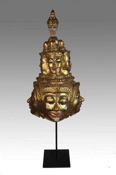 Thai Khon mask of Brahma ( Phra Pom ) very special with 3 floors and one Thep ( Angel ) on the top  . Private collection of Stephane Peray - French artist in Bangkok