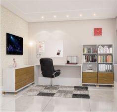 Conjunto para escritório / Linha Daisy - Branco/neve com carvalho escovado