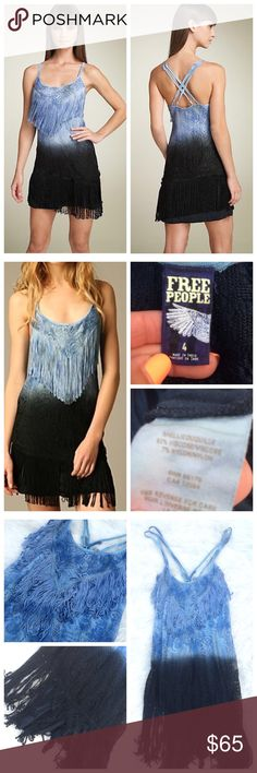 |ONE.DAY.SALE|   •Free People• Shake It dress •LISTED AT LOWEST PRICE• |offers will not be accepted on this item|  Gorgeous blue & black ombré dress by Free People. This is a reposh. Love it, but I've never really had the occasion to wear it. Condition is 9/10: no holes, stains, or piling. Crochet & fringe are both in great shape. Fully lined. Adjustable double crossed straps. Made of viscose & nylon. NO TRADES.   •Marked down from $35• Free People Dresses Mini