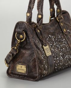 Deborah Studded Satchel Bag, Chocolate - Neiman Marcus