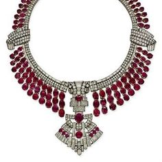 Art Deco Ruby and Diamond Necklace.