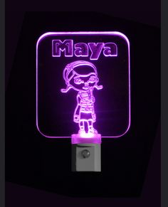 """Personalized #DocMcStuffins Custom LED Night Light - Unique LED Products 3D Engraved 3/8"""" Clear Acrylic, Multi color light bases #personalizedgift #LED"""