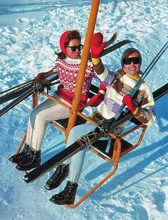 imagine that ski lift today. [I don't miss those long skinny skis, boots and bindings. But, I'd do anything for those vintage sweaters and flattering ski pants. Ski Vintage, Vintage Ski Posters, Vintage Winter, Mode Vintage, Vintage Travel, Vintage Ladies, Apres Ski Party, St Anton, Ski Bunnies