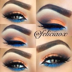 I am in love with this eyeshadow look! I love the way the orange and blue look together and she blended it perfectly. make up natural;make up glitter;make up catrina; Makeup Goals, Love Makeup, Makeup Inspo, Makeup Inspiration, Hair Makeup, Makeup Ideas, Makeup Kit, Makeup Primer, Girls Makeup