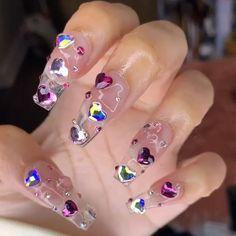 Gem Nails, Aycrlic Nails, Cute Nails, Pretty Nails, Hair And Nails, Manicure, Nail Art Rhinestones, Rhinestone Nails, Bling Nails