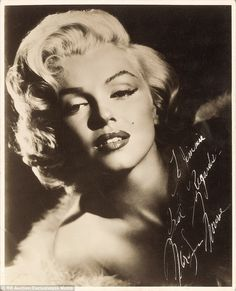 The image, taken during a Frank Powolny glamour shoot in 1953, was signed with the words, 'To Jimmie, Best regards, Marilyn Monroe'. It sold for almost $25,000