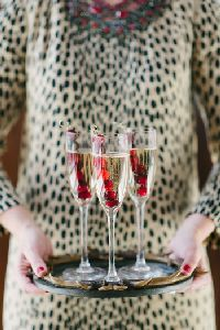 Frozen cranberry skewers to keep champagne cold