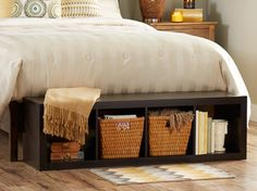 Lay our 4 cube organizer at the foot of your bed for an easy to reach storage bench!