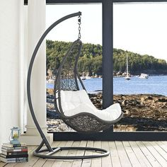 - Info - Colors - Dimensions Escape to a place of quiet comfort with the Wayne Outdoor Patio Swing Lounge Chair. Made with a luxurious synthetic rattan weave, and plush all-weather fabric cushion, Way More