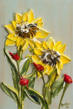 Justin made by Hand  8X12 Sunflowers on Natural Cypress Block  Textural Style