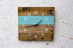 Reclaimed Wood Wall clock. Pallet Wood, SKY Blue, Rustic, Upcycle, Eco-Friendly. Choose Your Color.