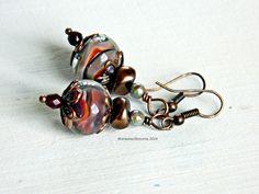 Brown Marbled Lampwork Earrings, Boho earrings, Bohemian Jewelry, Glass bead earrings, Woodland earrings, Gypsy dangles, Gift for Wife, by MarianneMerceria on Etsy