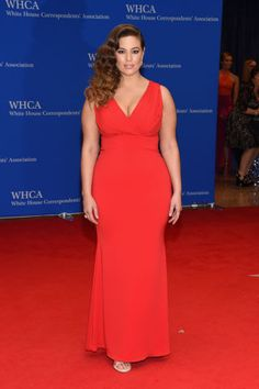 Ashley Graham in a red gown and Veronica Lake inspired waves. See all the best dressed celebrities from the 2016 White House Correspondents Dinner here: