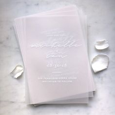 White Ink on Translucent Vellum Save The Dates with Vellum or Paper Envelope & Embossed or Foiled Sticker #wedding #vellum #savethedate #savethedates #invitation #clear #seethrough #transparent #modern #minimalist #translucent #rosegold #foiled #minimal #weddingstationery