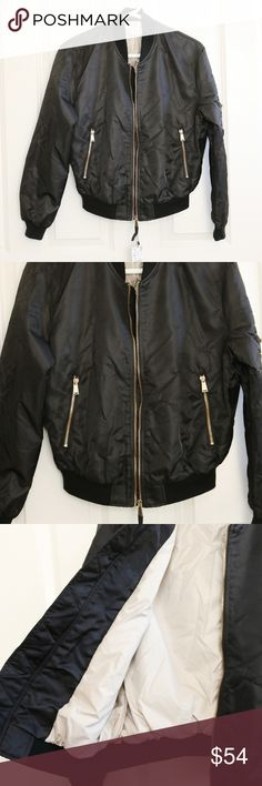 ZARA Black Bomber Jacket XS Zara Basic Outerwear Women's Bomber Jacket.   Zip up front. Pockets. Gold hardware. Size XS. About 21 inches from armpit to armpit. About 22 inches from shoulder to hem. Zara Jackets & Coats