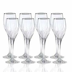 Mikasa Arctic Lights Platinum Crystal Wine Glasses, Set of 8 by Mikasa. $229.99. The elegance of the platinum rim only enhances the intricate cuts and exuberant curves of this luxurious stem ... ready to elevate your tablesetting to new heights as it captivates your guests with its charm. This crystal pattern coordinates perfectly with formal dinnerware and flatware. Dishwasher safe - top rack. Set of 4 crystal wine glasses, each holds 8 ounces.