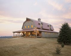 Gambrel Barn Home | Holiday Lights | Sand Creek Post & Beam https://www.facebook.com/SandCreekPostandBeam