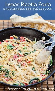 Light and easy pasta dish: Lemon Ricotta Pasta w/ Spinach and Red peppers. I'll add shrimp to mine..