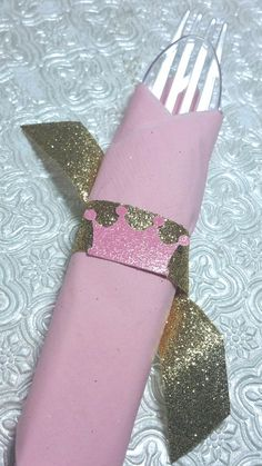 Crown tiara prince princess napkin rings with glitter ribbon birthday party gender reveal baby shower wedding bachelorette table decoration tableware banquet dinner graduation anniversary retirement Disney princess party decor Cinderella Snow White Sleeping Beauty castle onederland wonderland sweet sixteen pink and gold party wedding bridal