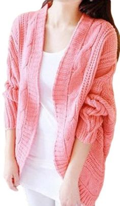 SKCUTE Knitting Sweaters Fashion Cardigans Batwing Pink >>> Want additional info? Click on the image.