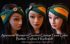 Women's Crochet Custom Made Team Color Turban Button Headband Green Bay Packers