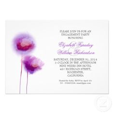 elegant engagement party invitation with two cute and sweet purple blossoms