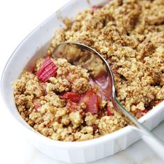 Rhubarb-Oat Crisp with Buttery Cinnamon Topping  https://www.thespruce.com/rhubarb-crisp-recipe-3056925?utm_campaign=fooddrinksl&utm_medium=email&utm_source=cn_nl&utm_content=9440162&utm_term=