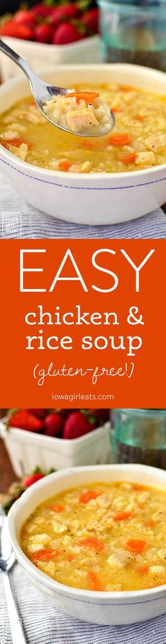 Easy Chicken and Rice Soup is a quick and simple gluten-free soup recipe that the entire family will love. Healthy comfort food in a bowl! | iowagirleats.com