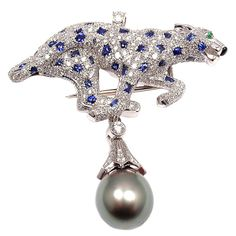 CARTIER Diamond Sapphire Pearl Platinum Panther Brooch Pendant, ca. 1980s