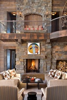 Gordon Gregory Photography - interiors-ii Love the built in bench in chimney on upper level