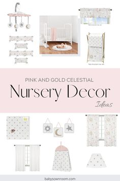 Create your baby girl nursery using adorable soft hues of pink and gold, with a touch of grey. The Celestial collection by www.babysownroom.com invites sun and star shapes in the prints to create a coordinated look. Decorate your whole nursery with 35 accessories to mix and match.