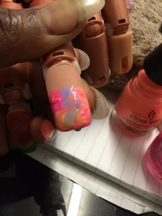 Summer nail polish marble