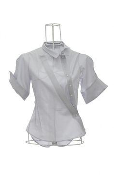 Chemise femme en coton piqué gris AGUETTA Ken Okada