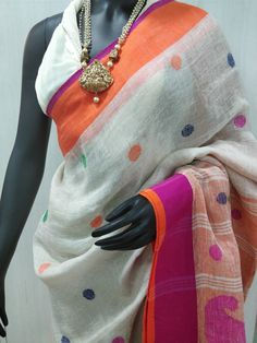 Beautiful off white Linen saree with red orange border and polka dots @ Rs.2400 by The Shagun INDO FAB. ( Neeranand Building, First floor, 42/1A, Gurupada Halder Road, Kolkata 700026, West Bengal, India. Next to Jatin Das Metro Gate 6. Opposite to Kalighat Post office. Ph :+91 9831464511/ 9831632434.