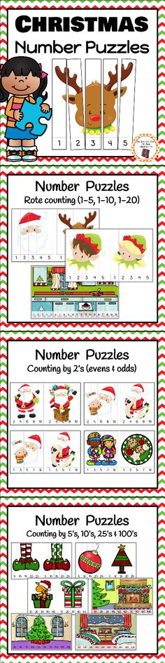 Christmas number puzzles for you kindergartner and first graders to work on rote and skip counting!