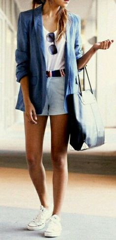 .denim shorts and linen blazer.  Visit http://fashi0nnf00d.blogspot.sg/search/label/Denim%20Inpriration for tips how to mix denim items