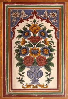 Small Fresco Panel decorating the inside of the pavilion above the shrine of Ishaq Gazruni, Wazir Khan Mosque. Mughal Miniature Paintings, Mughal Paintings, Indian Art Paintings, Ancient Persian, Quilting, Iranian Art, Turkish Art, Islamic Art Calligraphy, Historical Art