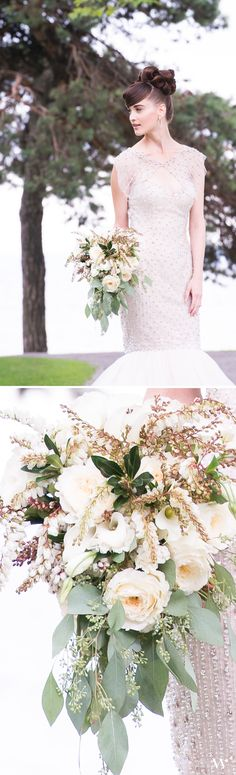 A classic bouquet with a big statement. Even with the subtle shades of ivory and green, this bouquet adds so much.