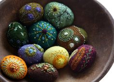 lil fish studios felted and embroidered stones