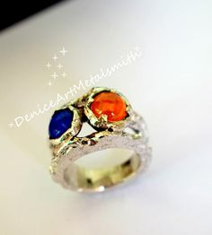 Unique Two Stone Silver Ring/ Handcrafted Lapis Lazuli