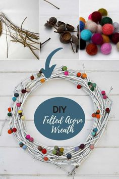 It is really easy to make a bright colourful felted acorn wreath.  This wreath not only looks great but cost very little to make.  #feltedacorn #wreath Acorn Wreath, Felt Diy, Decor Crafts, Fun Crafts, Autumn Crafts, Wreaths, Project Yourself, Diy Tutorial, Color