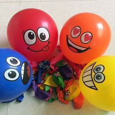 20pcs/lot Printed Big Eyes Smiley Air Balloon Happy Birthday Party