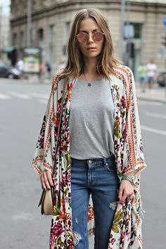 dress up jeans and a tee with a floral kimono