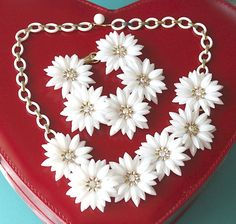 Vintage Coro White Soft Plastic Flower Demi by LoriLakeTreasures, $46.00