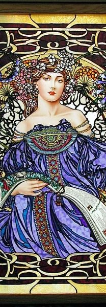 Is this real?  Art Nouveau - stained glass, INCREDIBLY beautiful details...wow!