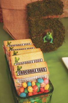 Crocodile candy egg favors at a Reptile boy birthday party! See more party ideas at CatchMyParty.com!