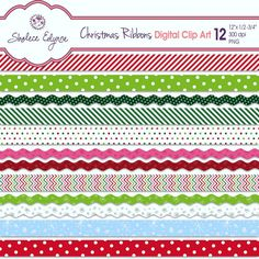 Christmas Ribbons Digital Clipart 12x.5 to .75 by ShaleceElynne, $4.99 #Christmas #Digital #Ribbon