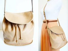 Vintage Coach Tan Shoulder Pouch Drawstring Bucket by hanniandmax